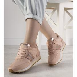 Różowe sneakersy sportowe ozdobione cyrkoniami Ratia beżowy 1