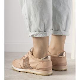 Różowe sneakersy sportowe ozdobione cyrkoniami Ratia beżowy 2