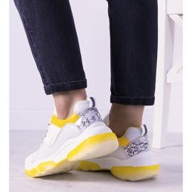 Biało żółte sneakersy z podeszwą ombre Laugh białe 2