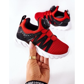 Dziecięce Sportowe Buty Z Pokrętłem ABCKIDS Czerwone czarne 6