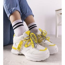 Biało żółte sneakersy z podwójnym wiązaniem One Chance białe 1