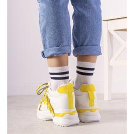 Biało żółte sneakersy z podwójnym wiązaniem One Chance białe 2