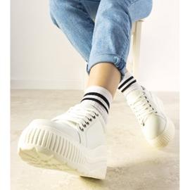 Białe sneakersy sportowe na wysokiej podeszwie Under 1