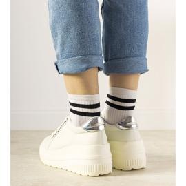 Białe sneakersy sportowe na wysokiej podeszwie Under 2