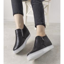 Czarne błyszczące sneakersy damskie Avery 6