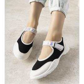 Czarno białe obuwie sportowe z holograficzną wstawką Melania czarne 1