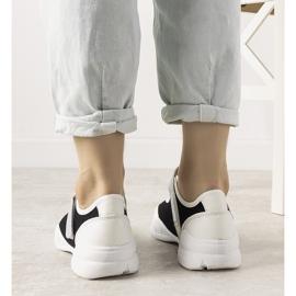 Czarno białe obuwie sportowe z holograficzną wstawką Melania czarne 2