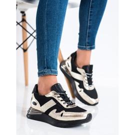 Sneakersy Z Brokatem VINCEZA czarne złoty 3