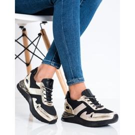 Sneakersy Z Brokatem VINCEZA czarne złoty 2