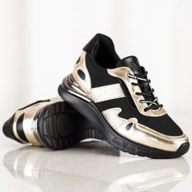 Sneakersy Z Brokatem VINCEZA czarne złoty 1