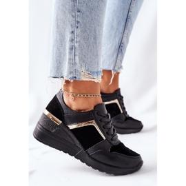 S.Barski Damskie Skórzane Sneakersy Na Koturnie Czarne Manitoba 1