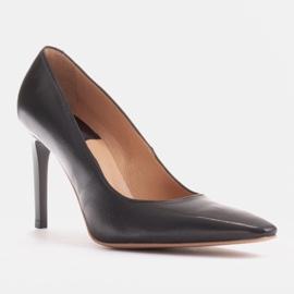 Marco Shoes Szpilki skórzane z wydłużonym przodem czarne 1
