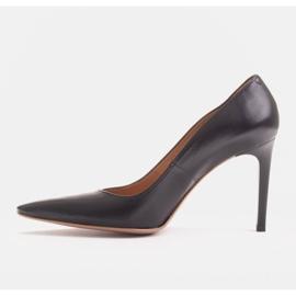 Marco Shoes Szpilki skórzane z wydłużonym przodem czarne 3