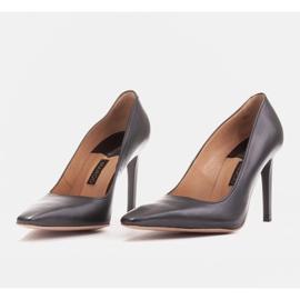 Marco Shoes Szpilki skórzane z wydłużonym przodem czarne 4