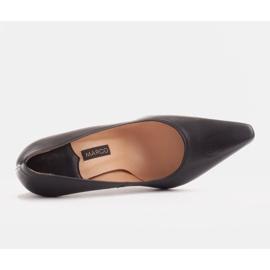 Marco Shoes Szpilki skórzane z wydłużonym przodem czarne 6