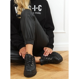 Buty sportowe na wysokiej podeszwie czarne 6291 Black 2
