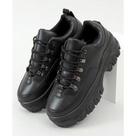Buty sportowe na wysokiej podeszwie czarne 6291 Black 3