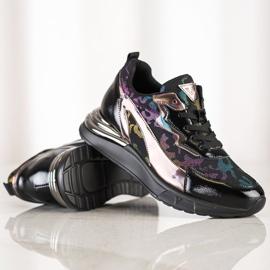 Sneakersy Z Efektem Holo VINCEZA czarne 1