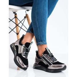 Sneakersy Z Suwakiem VINCEZA czarne złoty 3