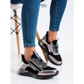 Sneakersy Z Suwakiem VINCEZA czarne złoty 2