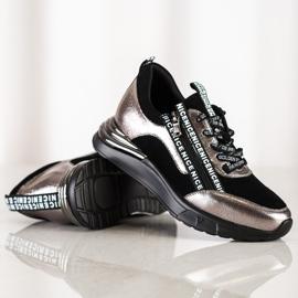 Sneakersy Z Suwakiem VINCEZA czarne złoty 1