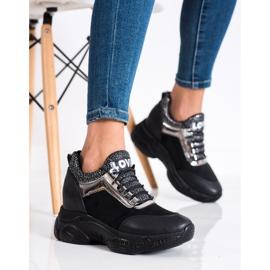 SHELOVET Modne Sneakersy Na Koturnie Love czarne 1