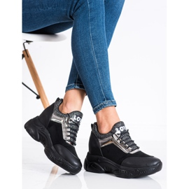 SHELOVET Modne Sneakersy Na Koturnie Love czarne 3