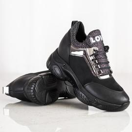 SHELOVET Modne Sneakersy Na Koturnie Love czarne 2
