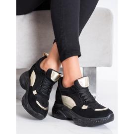 SHELOVET Wygodne CZARNO-ZŁOTE Sneakersy czarne złoty 3