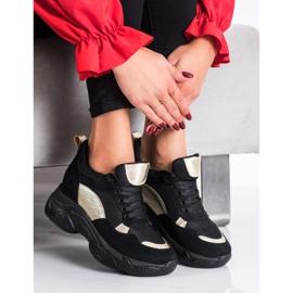 SHELOVET Wygodne CZARNO-ZŁOTE Sneakersy czarne złoty 1