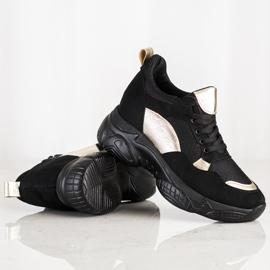 SHELOVET Wygodne CZARNO-ZŁOTE Sneakersy czarne złoty 2