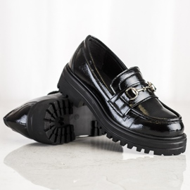 SHELOVET Mokasyny Na Platformie Fashion czarne 1