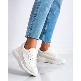 Ideal Shoes Wygodne Sneakersy Z Eko Skóry beżowy 2