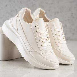 Ideal Shoes Wygodne Sneakersy Z Eko Skóry beżowy 1