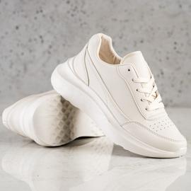 Ideal Shoes Wygodne Sneakersy Z Eko Skóry beżowy 4