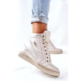 Lewski Shoes Damskie Sportowe Skórzane Buty Lewski Złote 3079 złoty 3