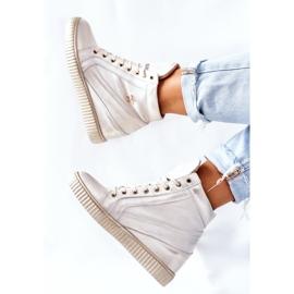 Lewski Shoes Damskie Sportowe Skórzane Buty Lewski Złote 3079 złoty 7