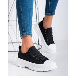 SHELOVET Tekstylne Trampki Fashion czarne 2