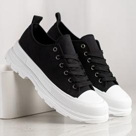 SHELOVET Tekstylne Trampki Fashion czarne 4