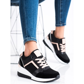 SHELOVET Sneakersy Na Koturnie czarne 2
