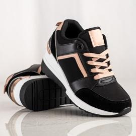 SHELOVET Sneakersy Na Koturnie czarne 1