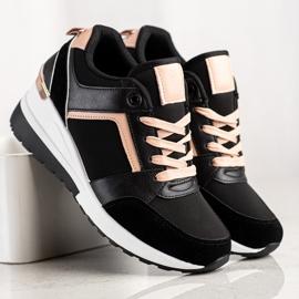 SHELOVET Sneakersy Na Koturnie czarne 3