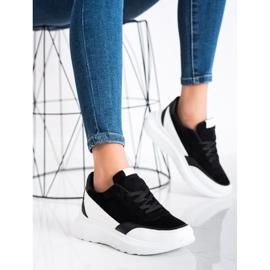 SHELOVET Czarne Zamszowe Sneakersy 2