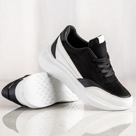 SHELOVET Czarne Zamszowe Sneakersy 1