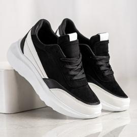 SHELOVET Czarne Zamszowe Sneakersy 4