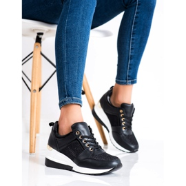 Diamantique Czarne Sneakersy Na Koturnie 3