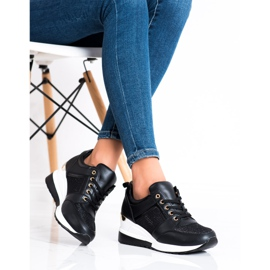Diamantique Czarne Sneakersy Na Koturnie 1