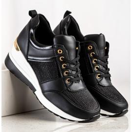 Diamantique Czarne Sneakersy Na Koturnie 2