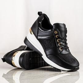 Diamantique Czarne Sneakersy Na Koturnie 4