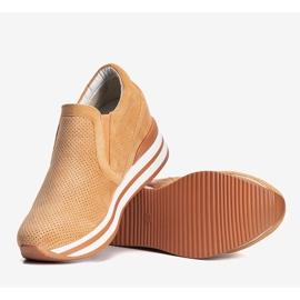 Pomarańczowe sneakersy na koturnie Miny 1